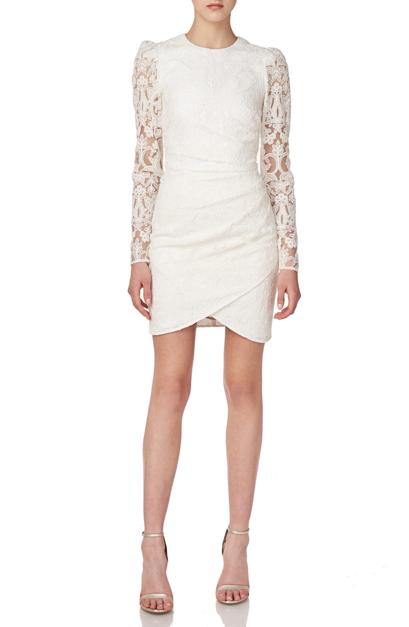 ML MONIQUE LHUILLIER Long Sleeve Lace Dress