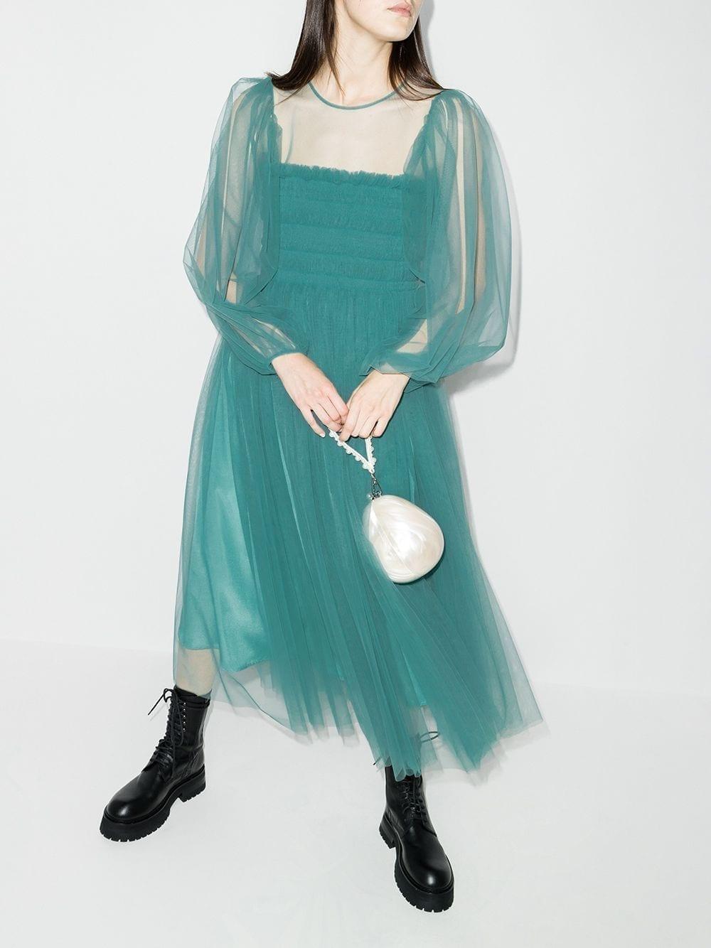 MOLLY GODDARD Amélie Smocked Tulle Midi Dress