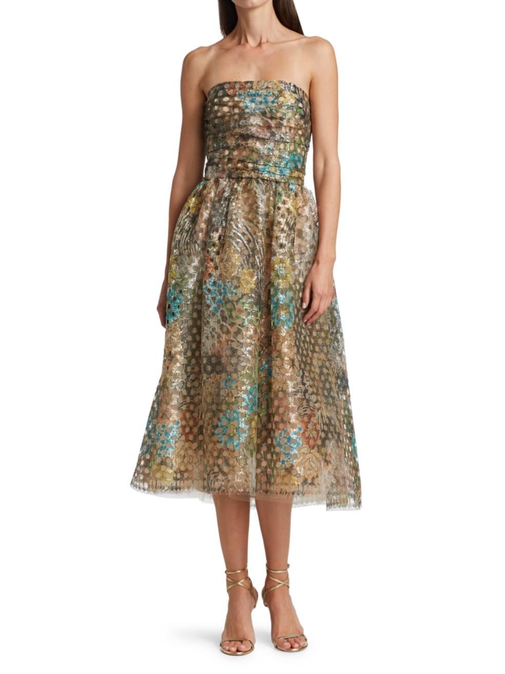 MONIQUE LHUILLIER Metallic Circle Lace Strapless Fit-&-Flare Dress