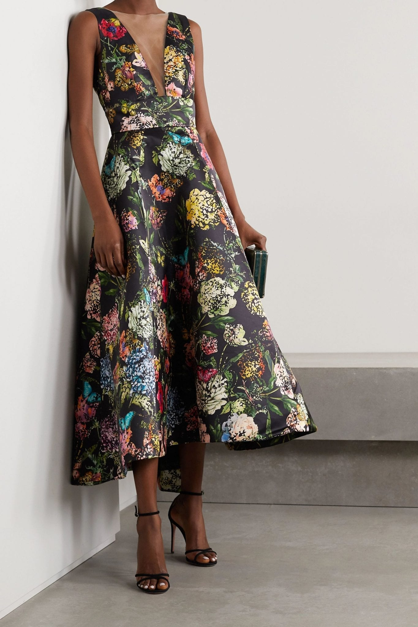MONIQUE LHUILLIER Tulle-trimmed Printed Taffeta Gown