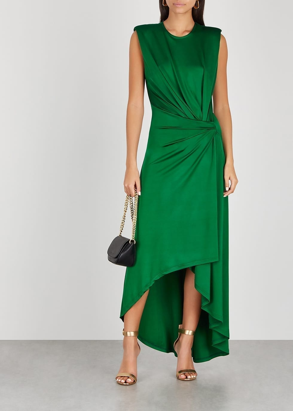 MONSE Green Draped Satin-jersey Maxi Dress