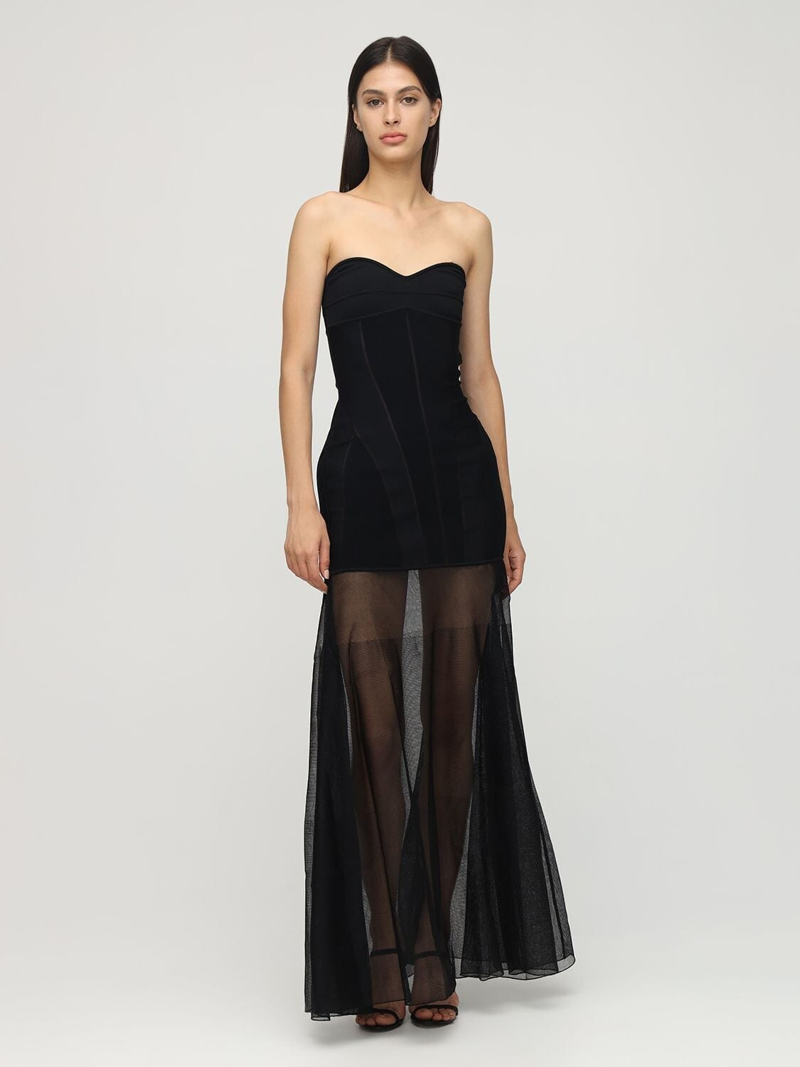 MUGLER Strapless Knit Sheer Long Dress