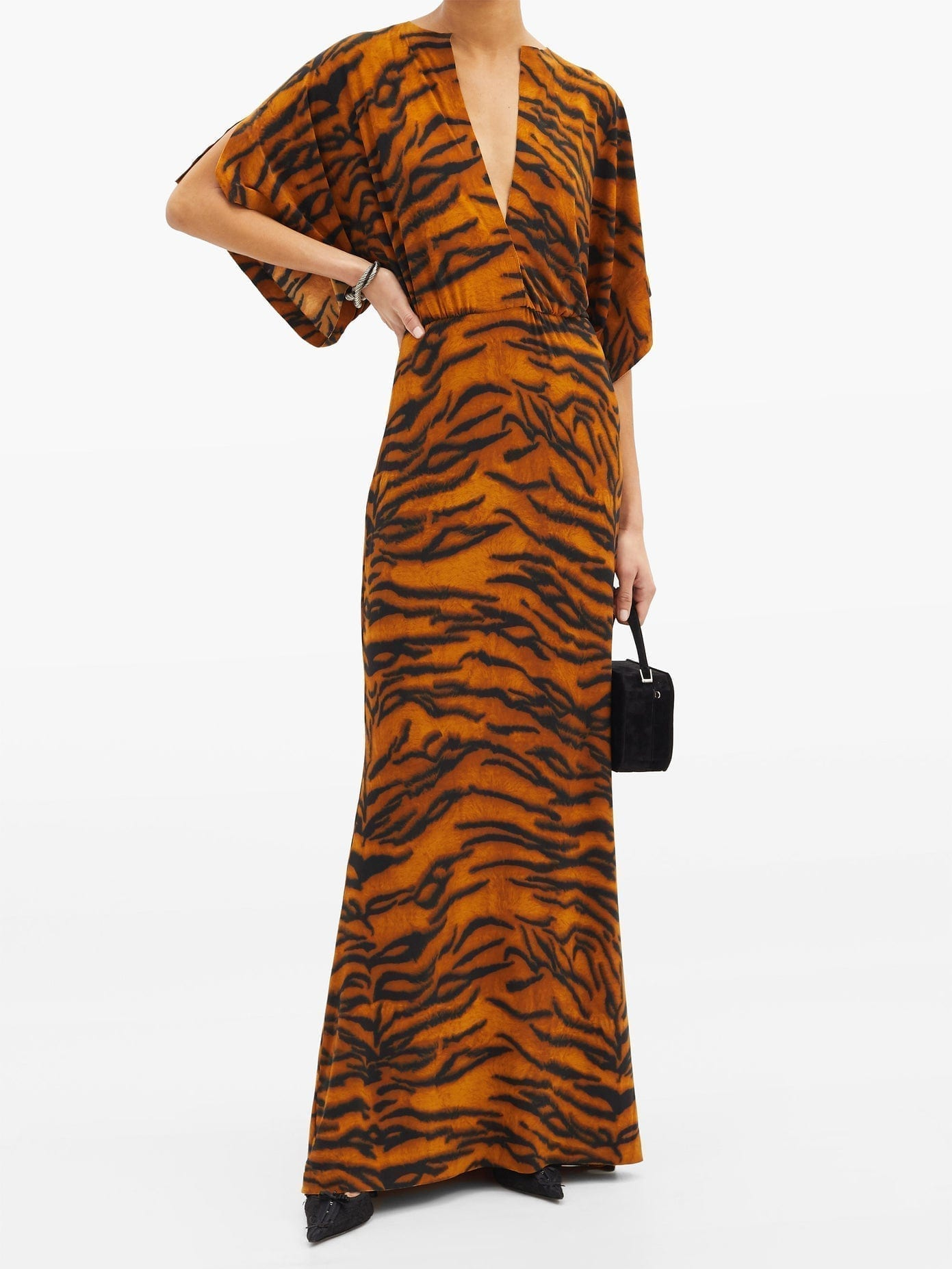 NORMA KAMALI Obie V-neck Tiger-print Jersey Dress