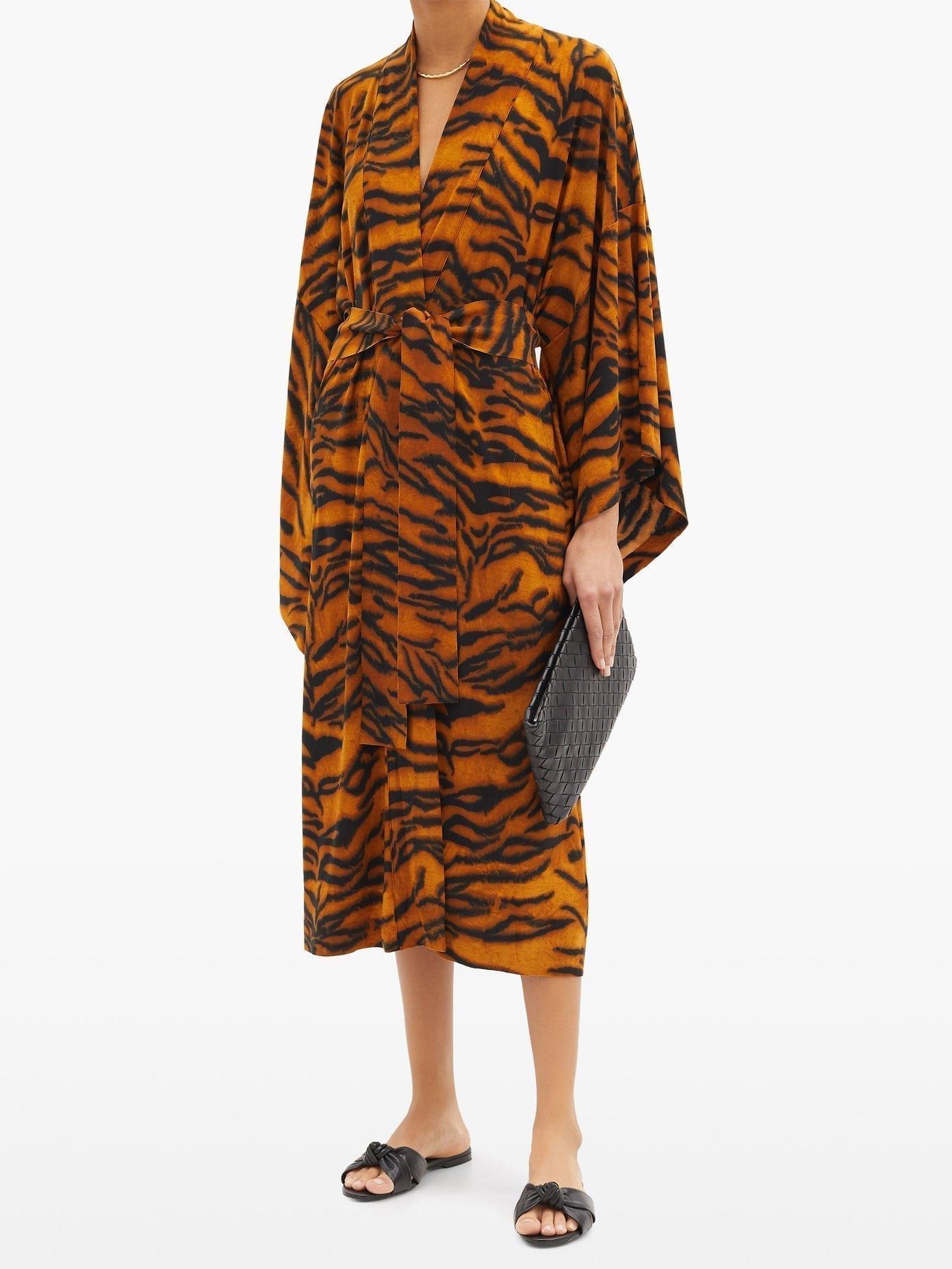 NORMA KAMALI Tiger-print Jersey Robe Dress