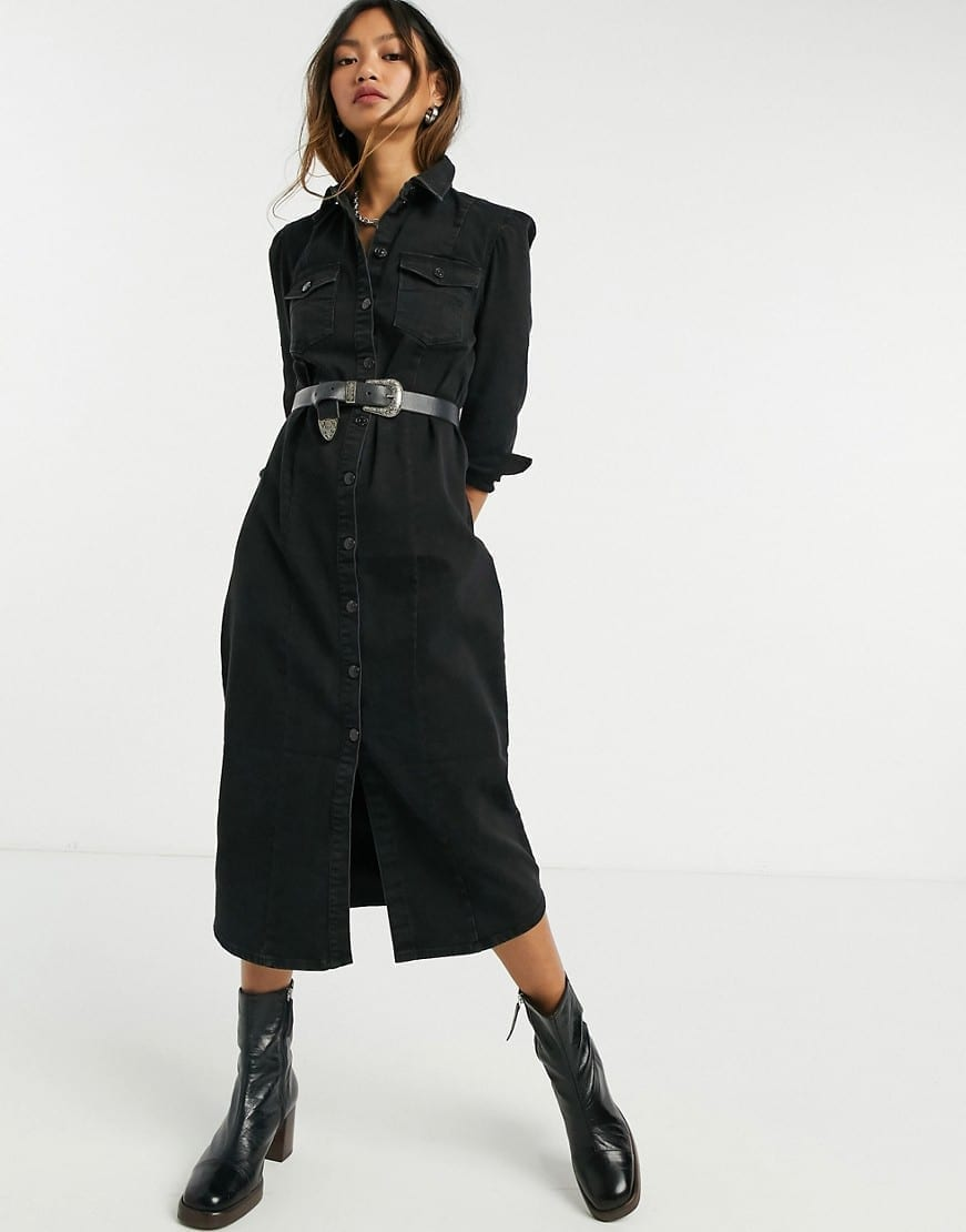 ONLY Denim Midi Shirt Dress