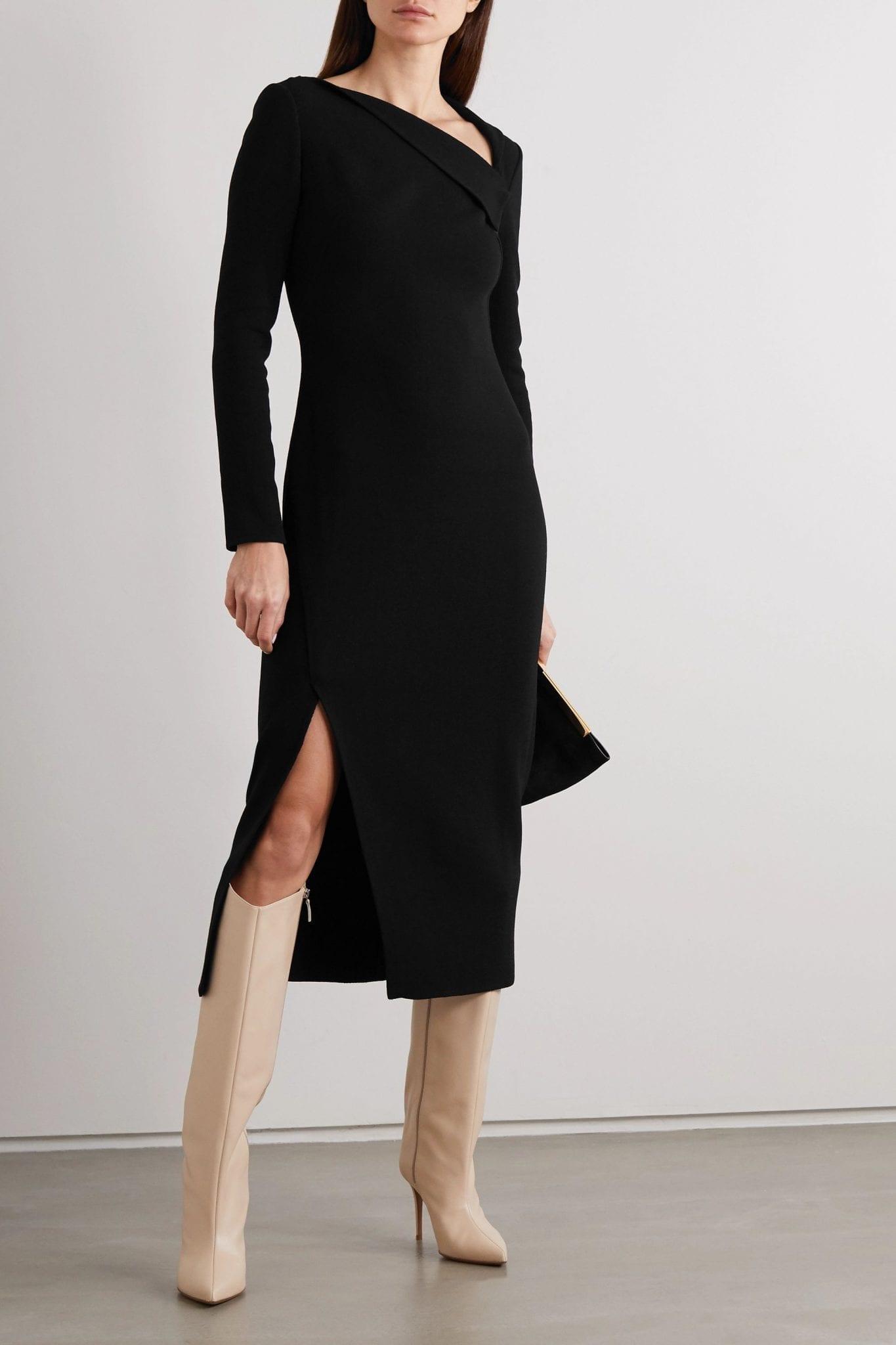 OSCAR DE LA RENTA Draped Stretch-wool Crepe Midi Dress