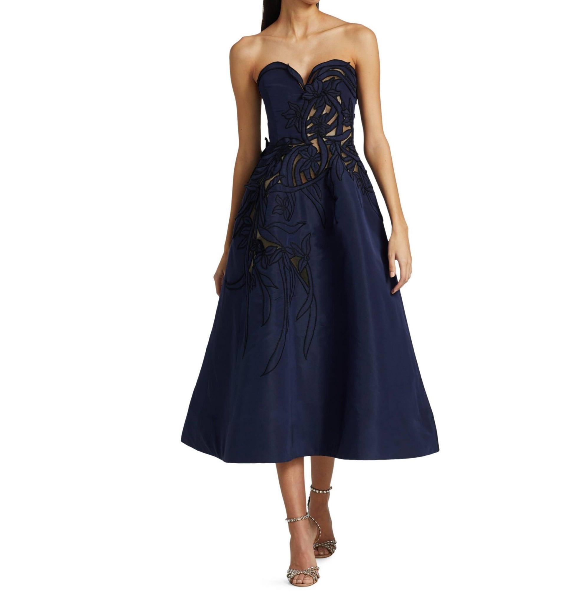 OSCAR DE LA RENTA Illusion Panel Sweetheart Neckline Full Skirt Cocktail Dress