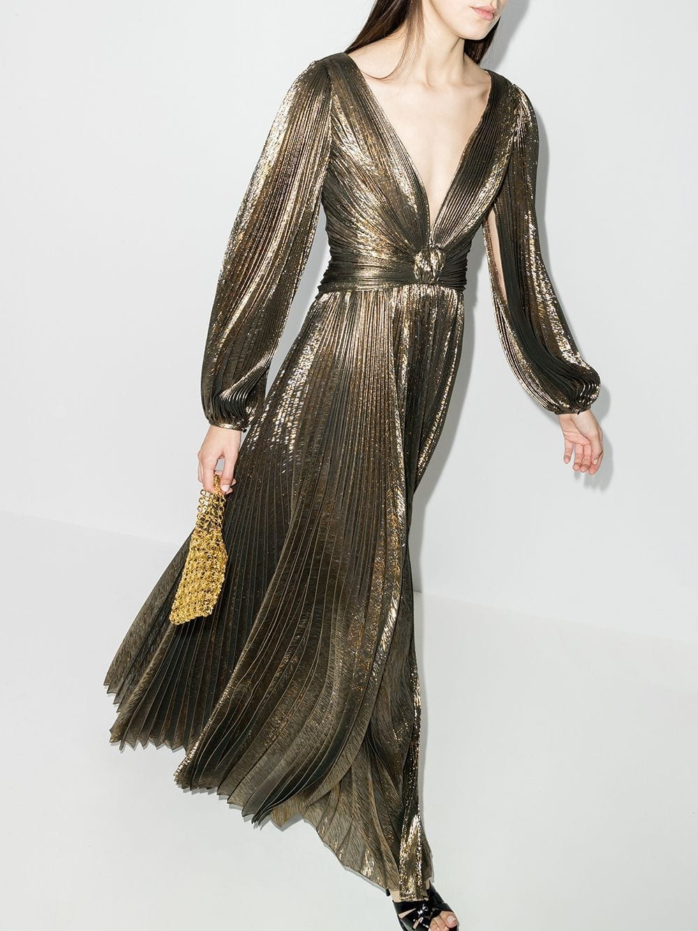 OSCAR DE LA RENTA Metallic Pleated V-neck Gown