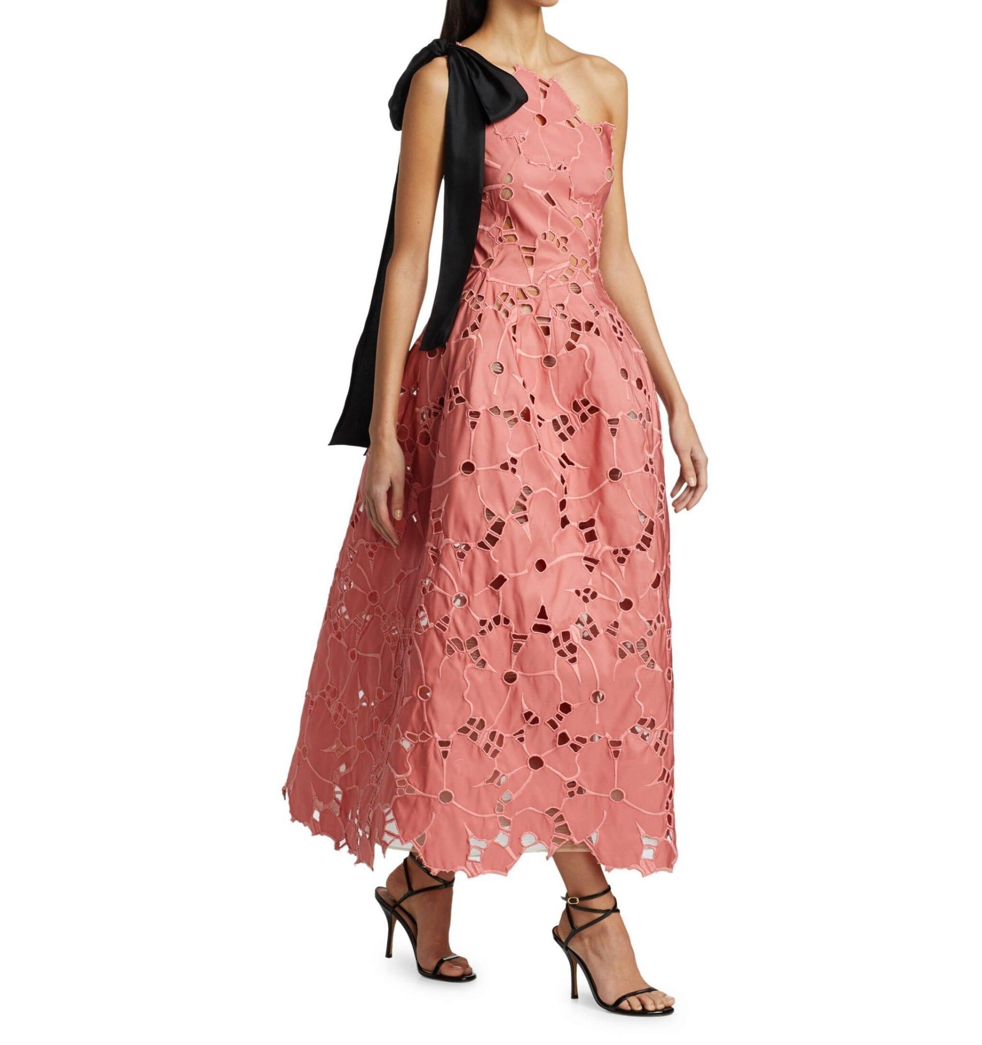 OSCAR DE LA RENTA One-Shoulder Lace Tea Dress