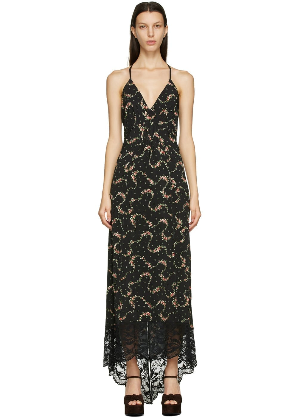 PACO RABANNE Black Floral Halter Dress