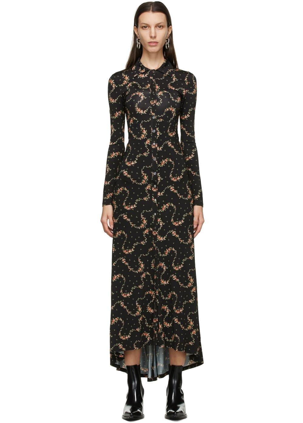 PACO RABANNE Black Floral Long Dress