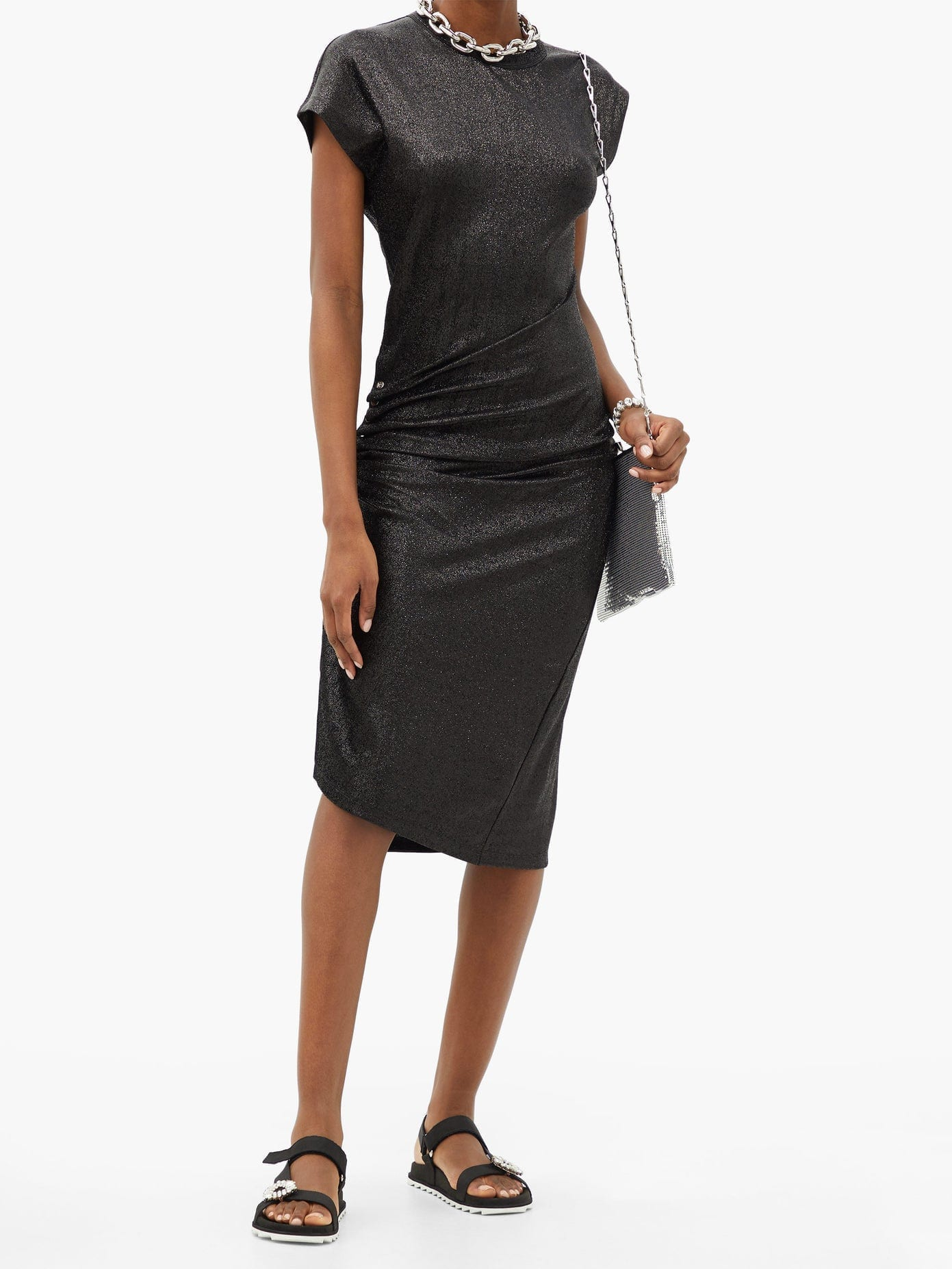 PACO RABANNE Button-ruched Asymmetric Lurex Midi Dress