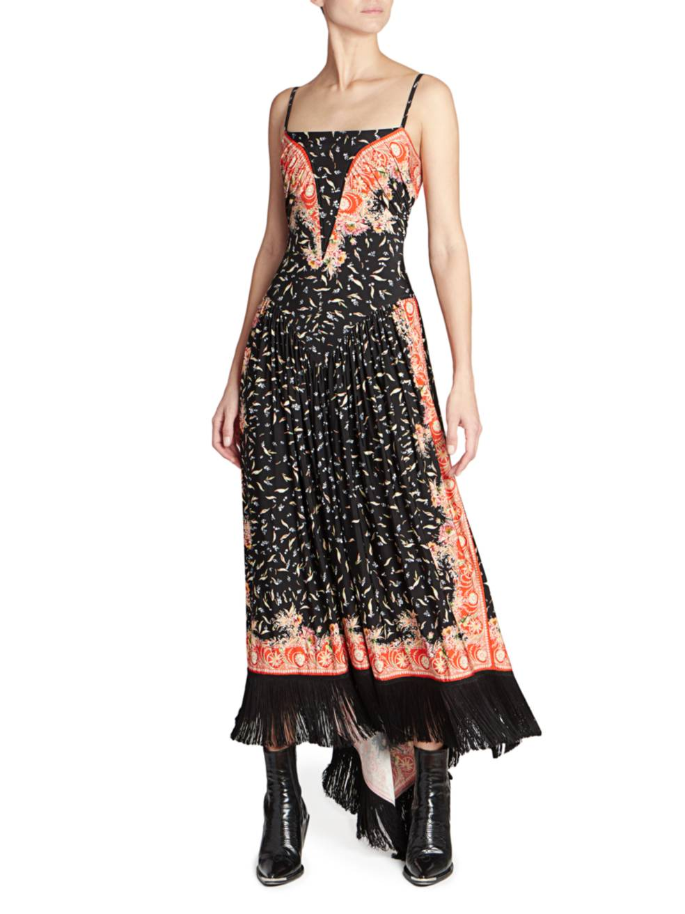 PACO RABANNE Printed Fringe Slip Dress