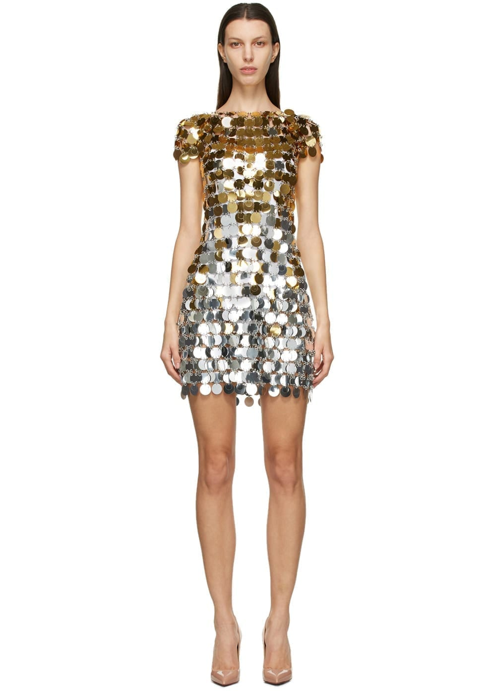 PACO RABANNE Silver & Gold Disc Dress