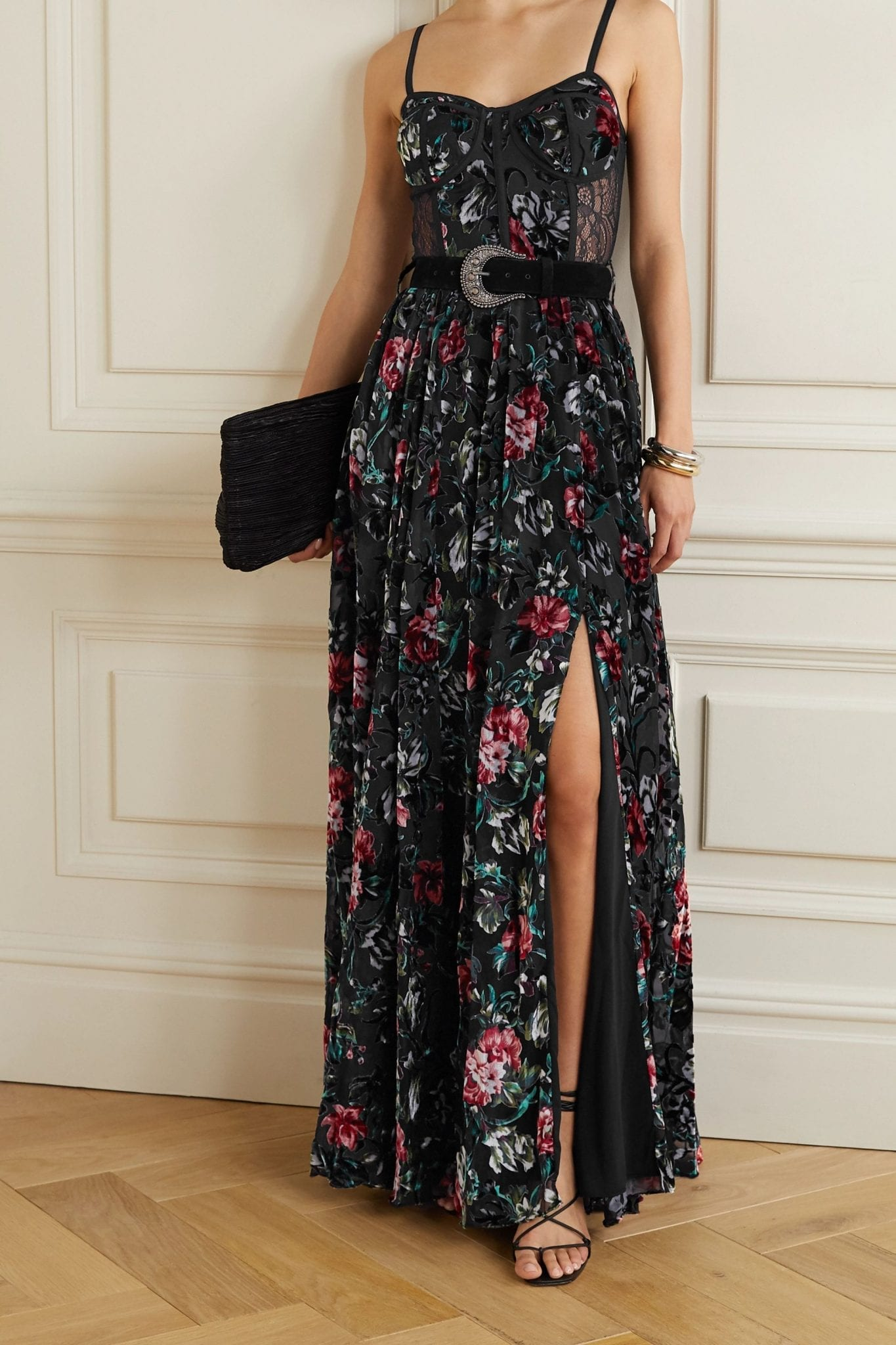 PATBO Belted Lace-paneled Floral-print Devoré-velvet Maxi Dress