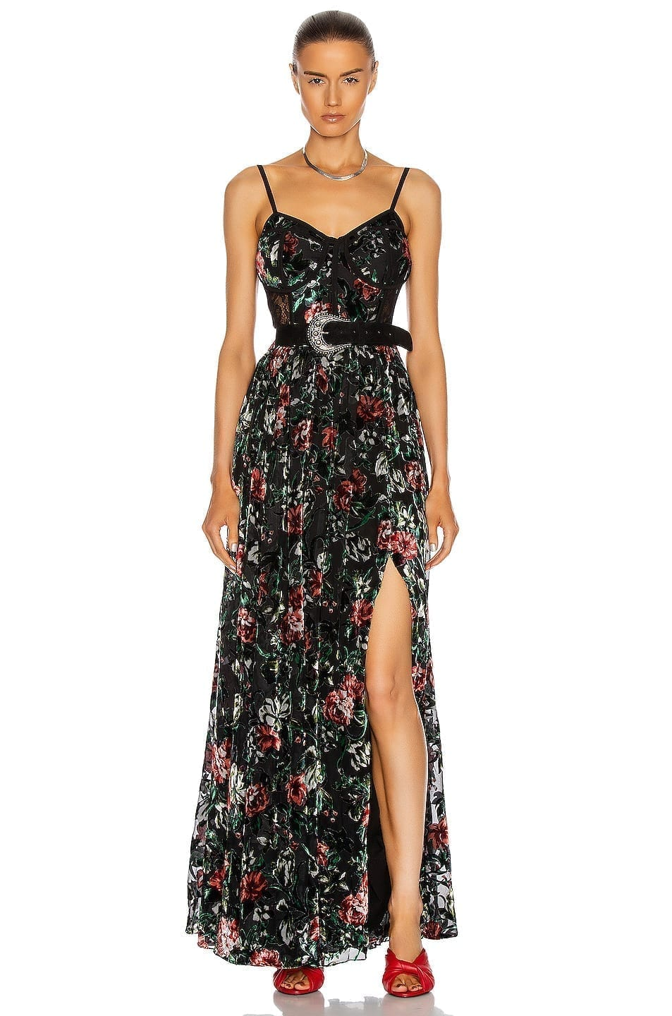 PATBO Floral Burnout Bustier Dress