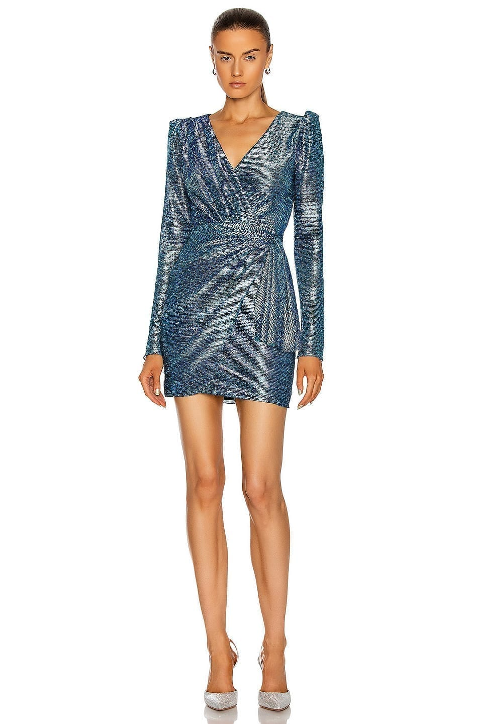 PATBO Metallic Faux Wrap Mini Dress