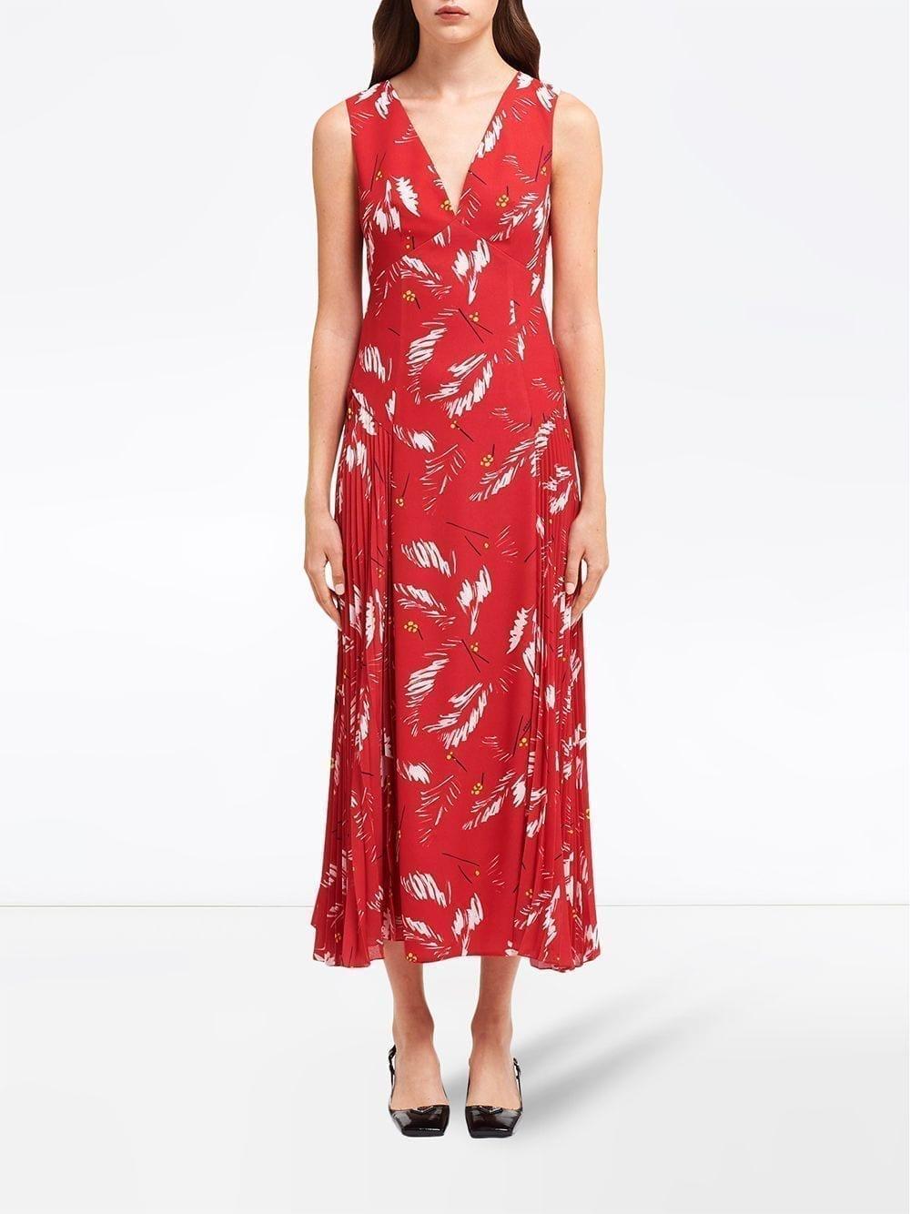 PRADA Abstract-print V-neck Dress