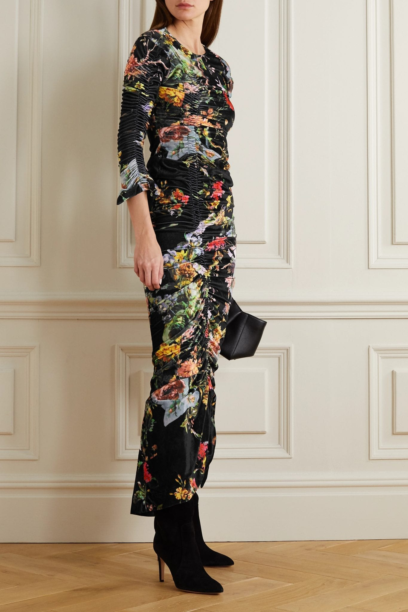 PREEN BY THORNTON BREGAZZI Ruched Floral-print Stretch-velvet Dress