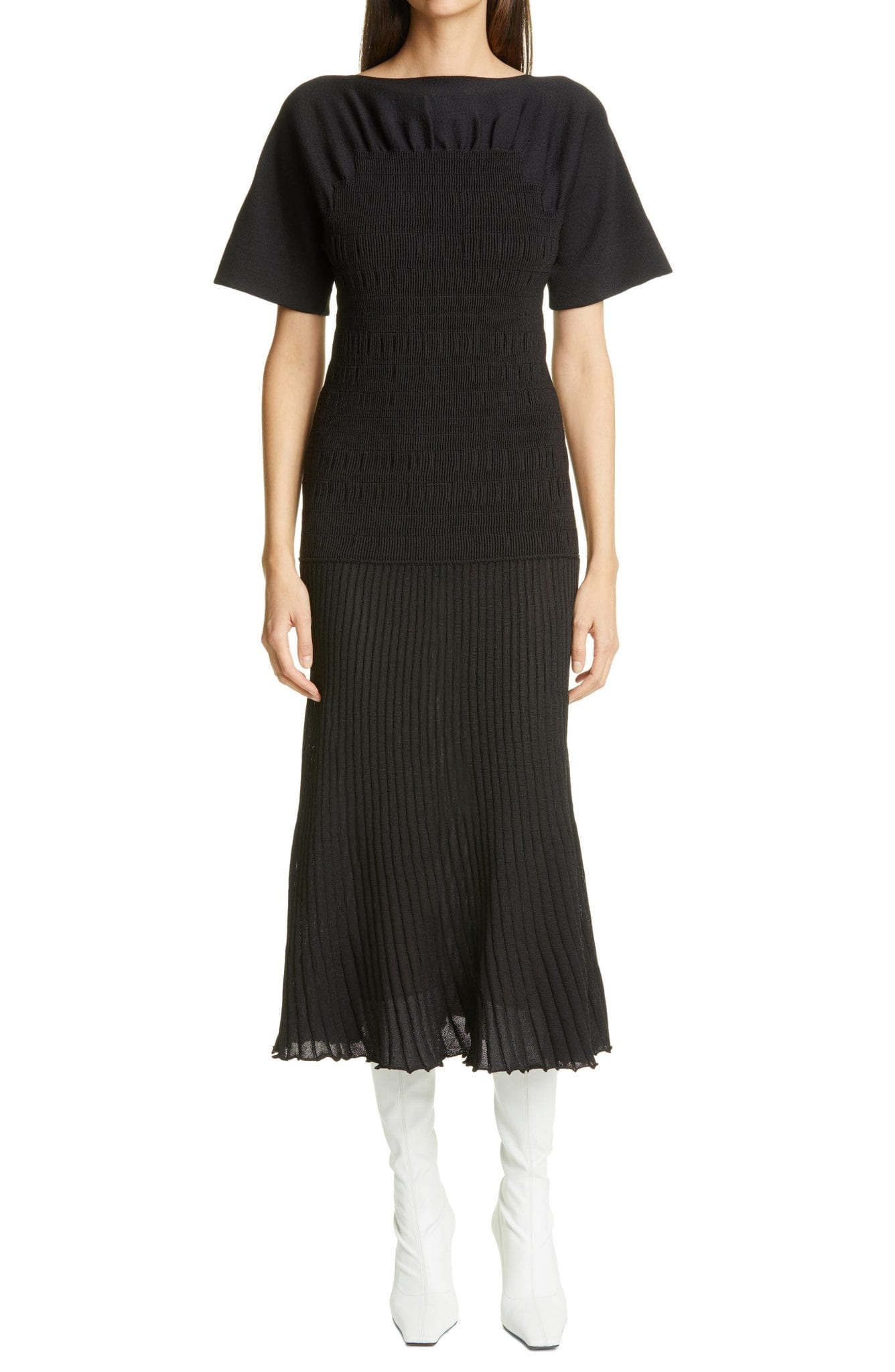 PROENZA SCHOULER Smocked Pleated Midi Dress