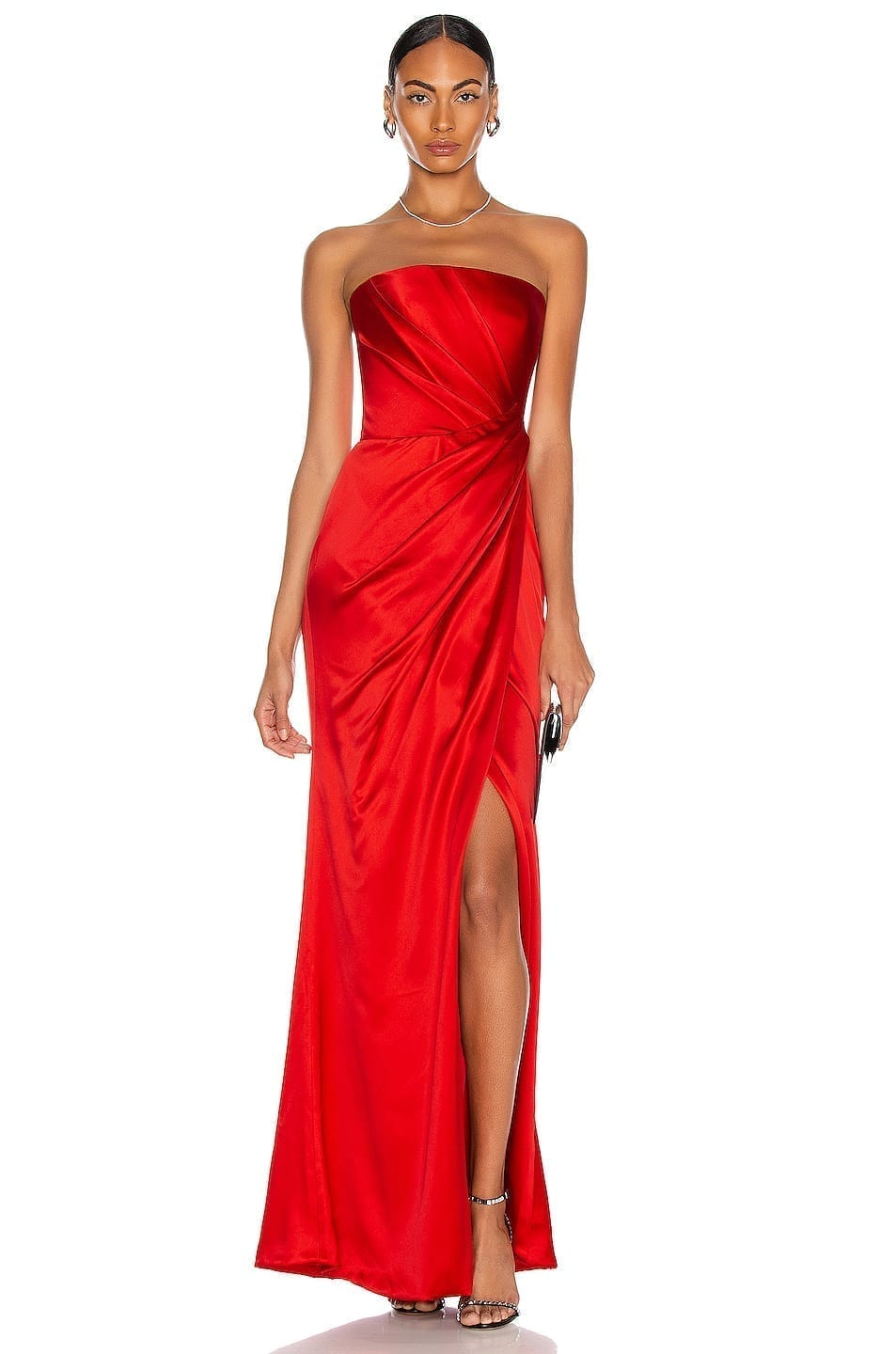 RASARIO Asymmetric Draped Corset Gown