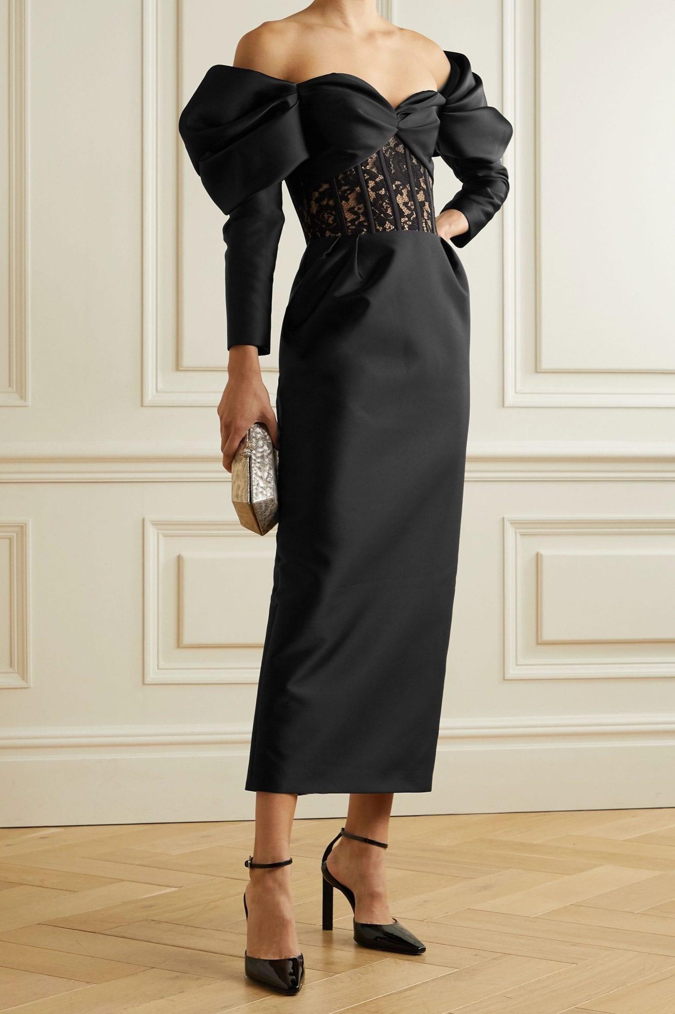 RASARIO Off-the-shoulder Duchesse-satin Corded Lace Midi Dress