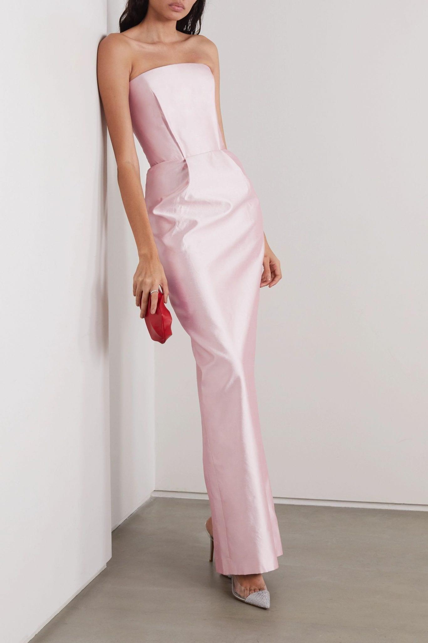 RASARIO Strapless Duchesse Silk-satin Gown