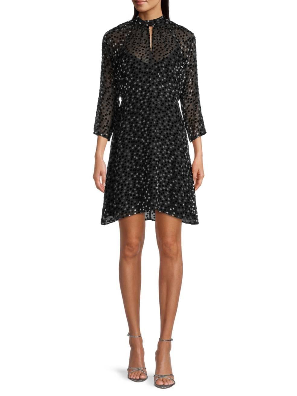 REBECCA TAYLOR Velvet Turtleneck Three-Quarter-Sleeve Dress