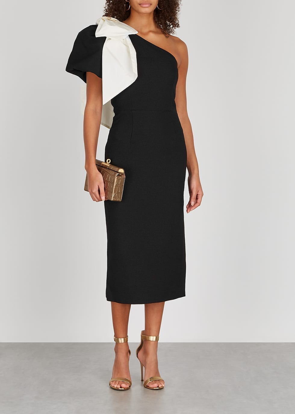 REBECCA VALLANCE Lavanda Black Bow-embellished Midi Dress