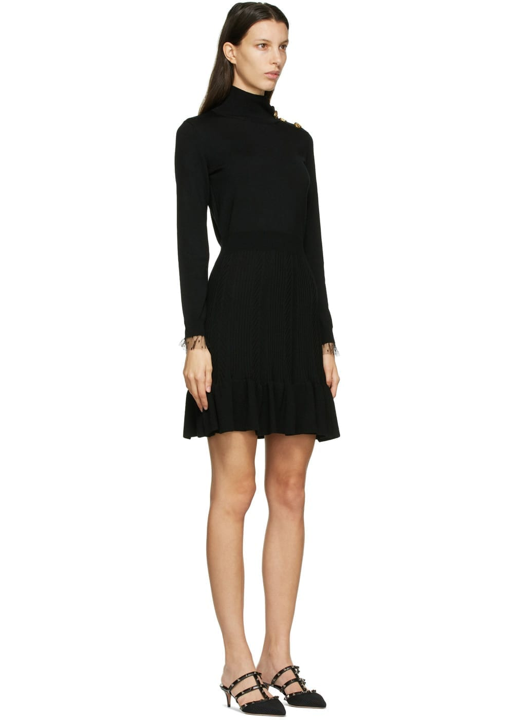 RED VALENTINO Black Virgin Wool Turtleneck Dress