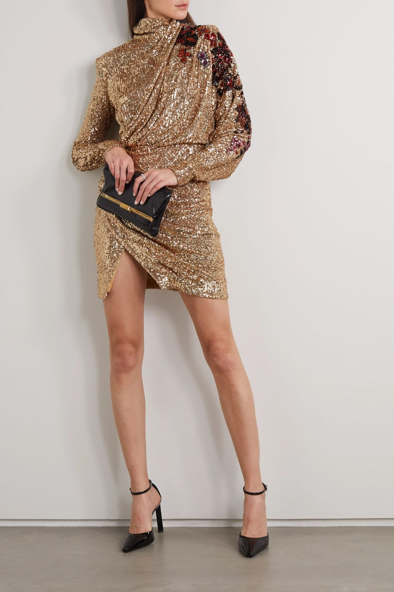 REDEMPTION Draped Sequined Tulle Turtleneck Mini Dress