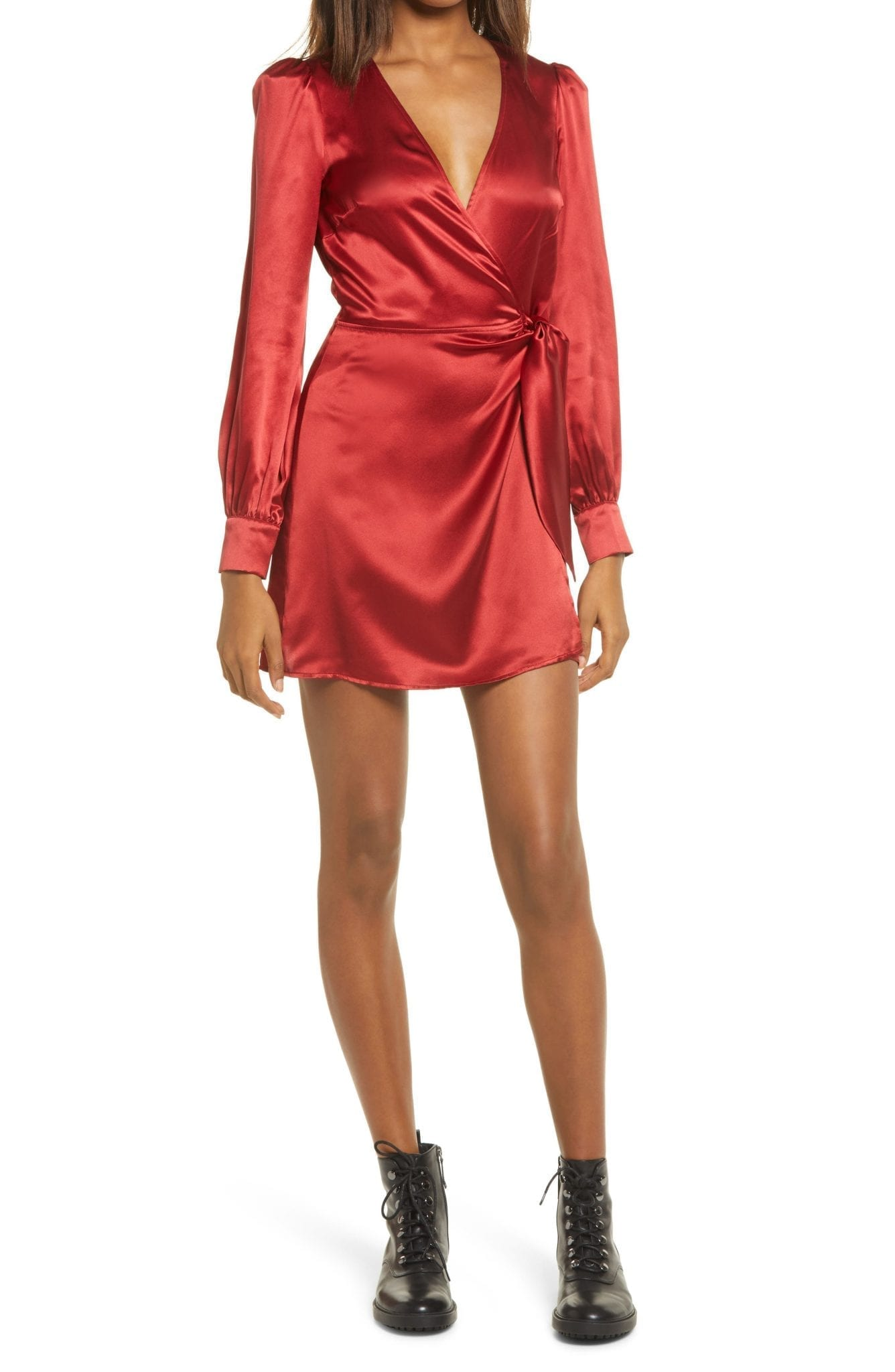 REFORMATION Kenna Silk Long Sleeve Wrap Mini Dress