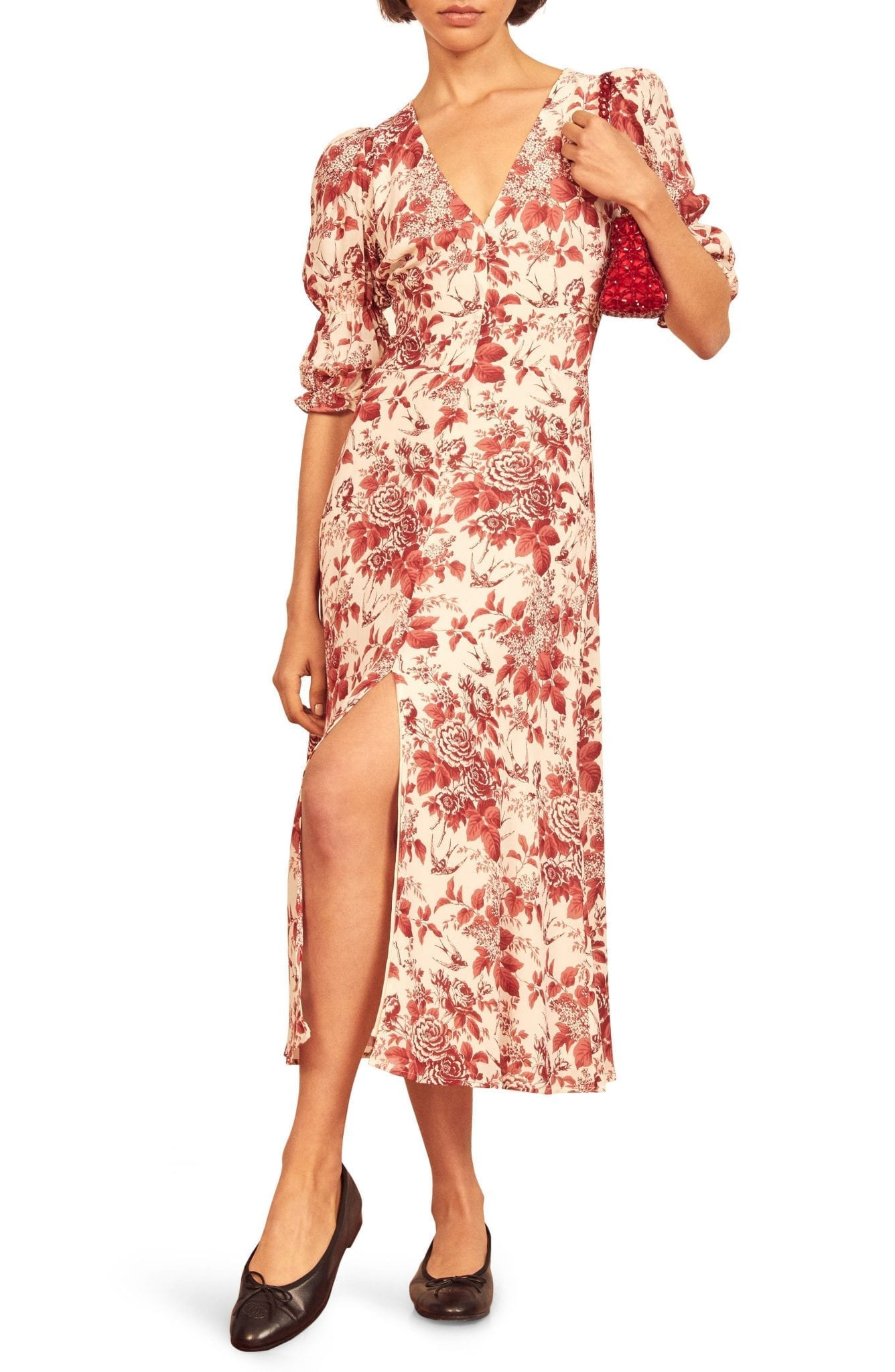 REFORMATION Larchmont Floral Midi Dress
