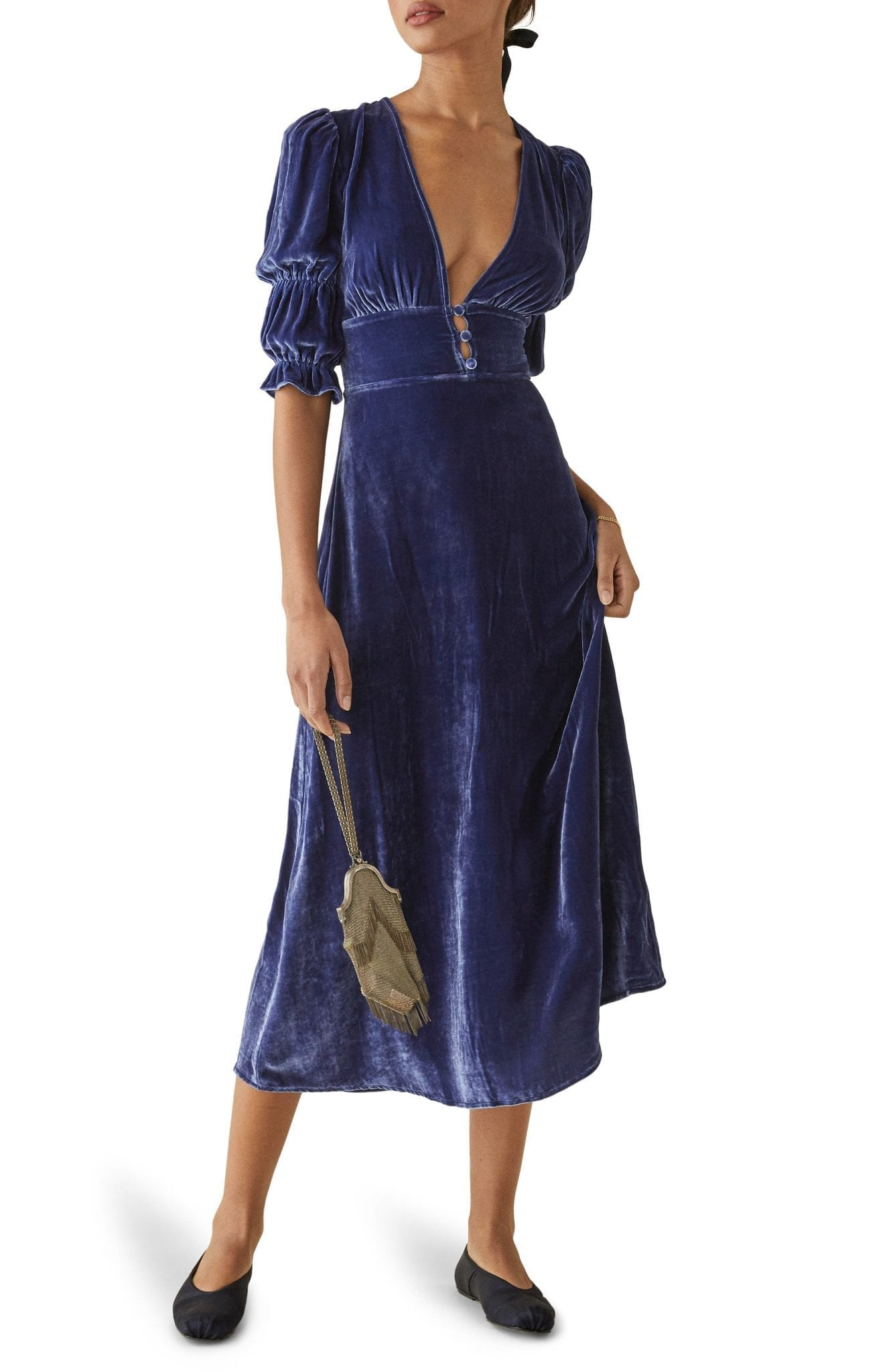 REFORMATION Maura Velvet Midi Dress