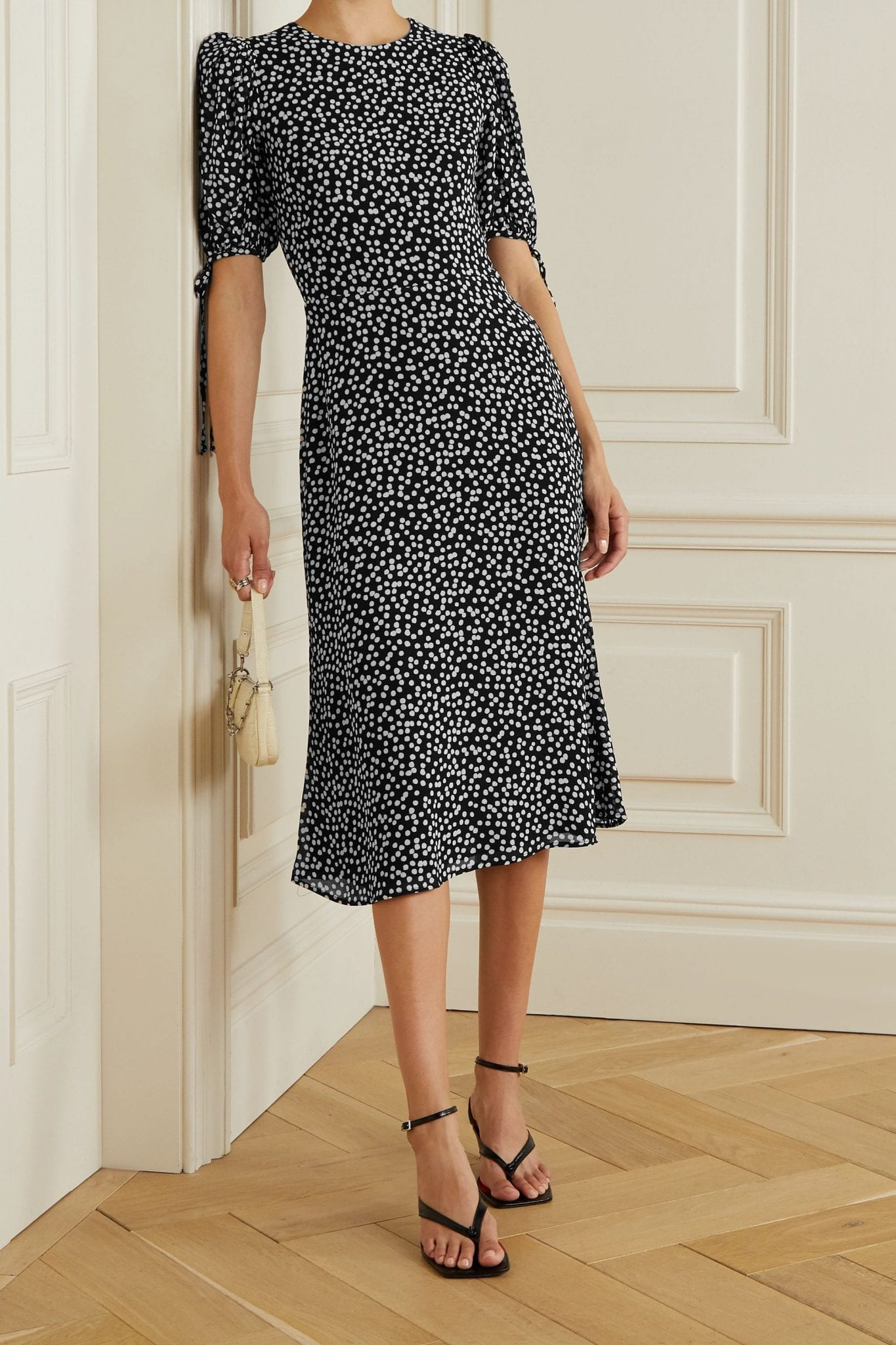 REFORMATION Oakley Polka-dot Crepe Midi Dress