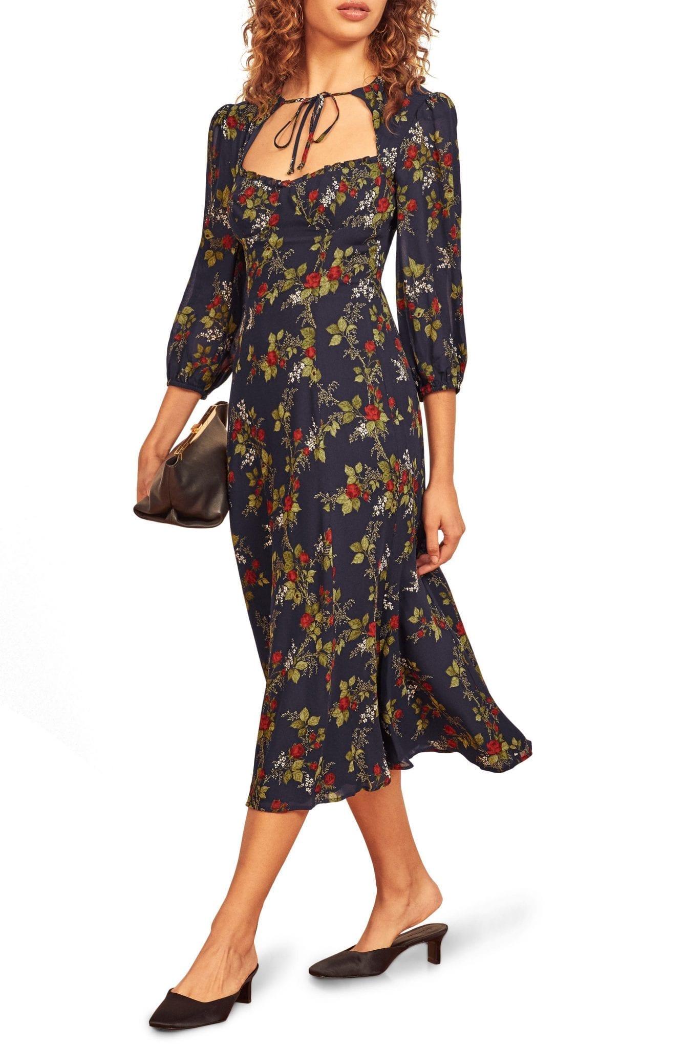 REFORMATION Poulter Floral Midi Dress