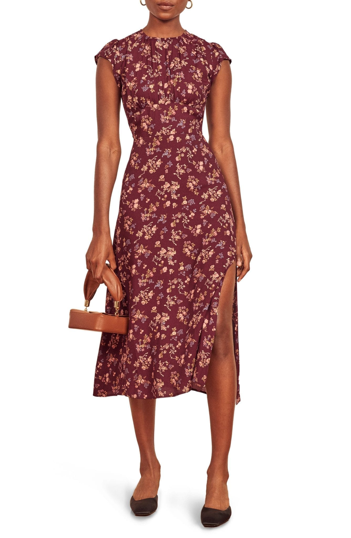 REFORMATION Zeta Floral Crepe Midi Dress