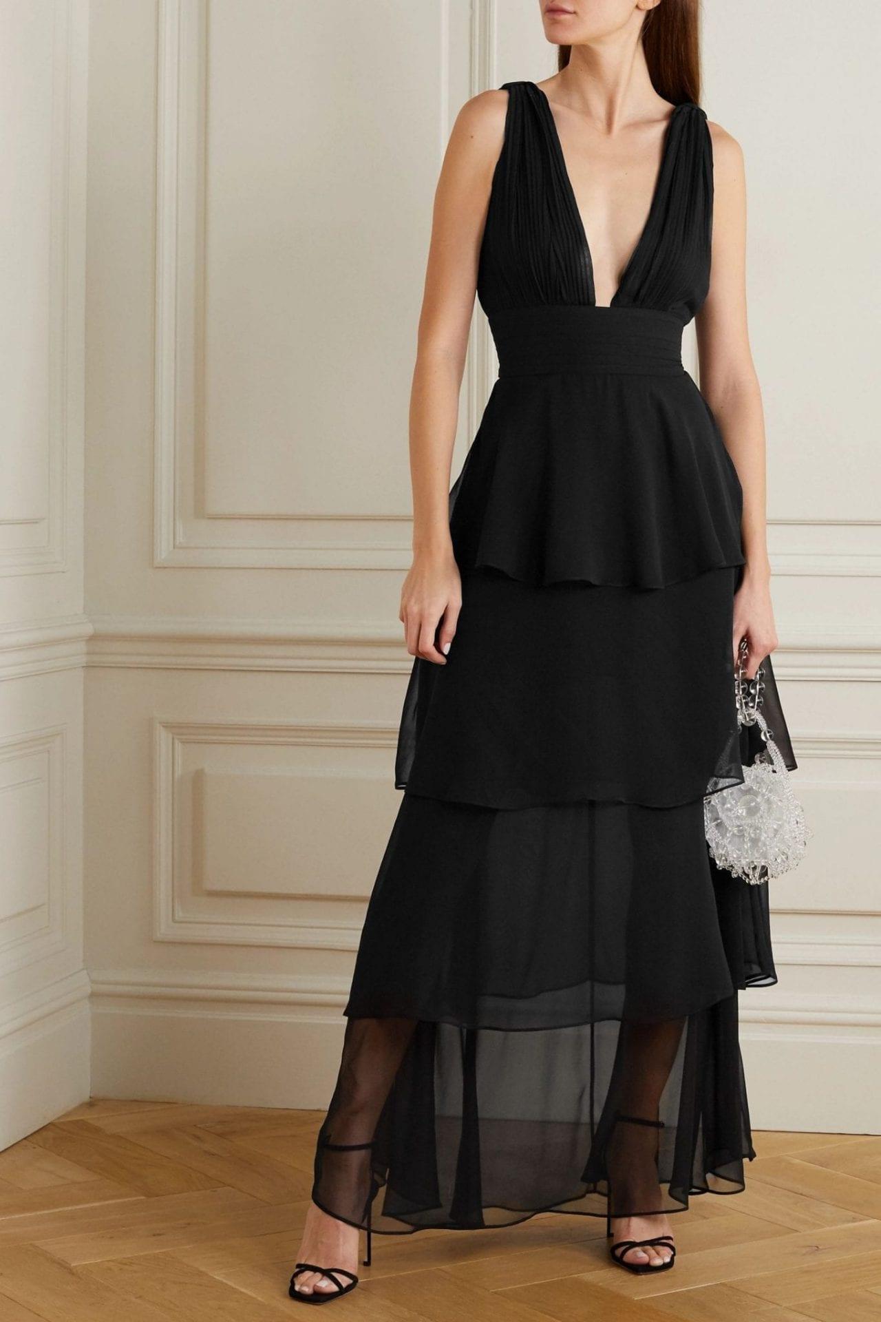 RETROFÊTE Eloise Gathered Tiered Silk-chiffon Maxi Dress