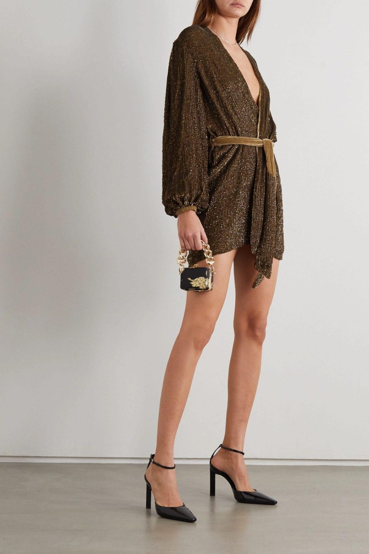 RETROFÊTE Gabrielle Belted Sequined Chiffon Wrap Mini Dress