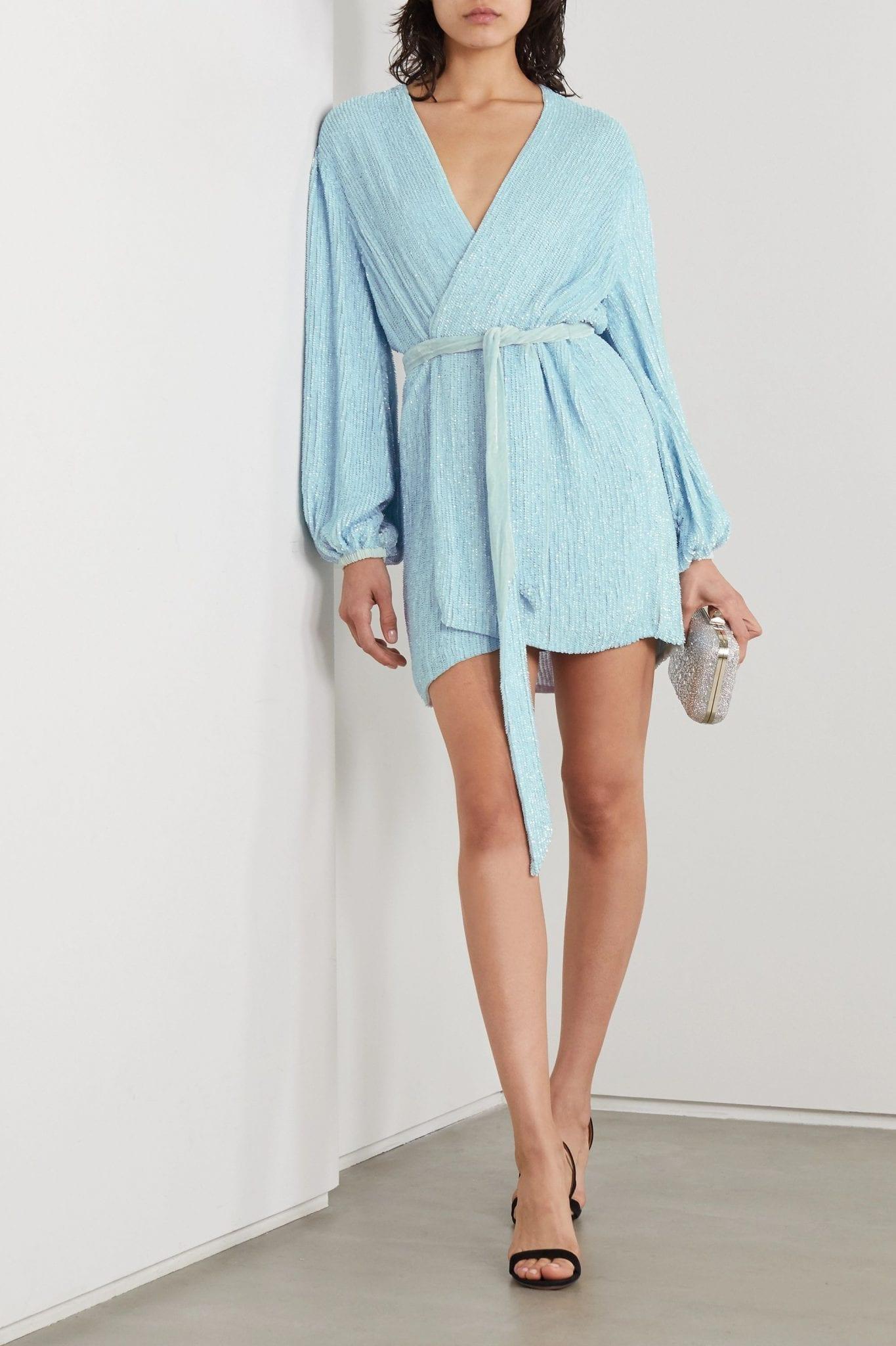 RETROFÊTE Gabrielle Velvet-trimmed Sequined Chiffon Wrap Mini Dress