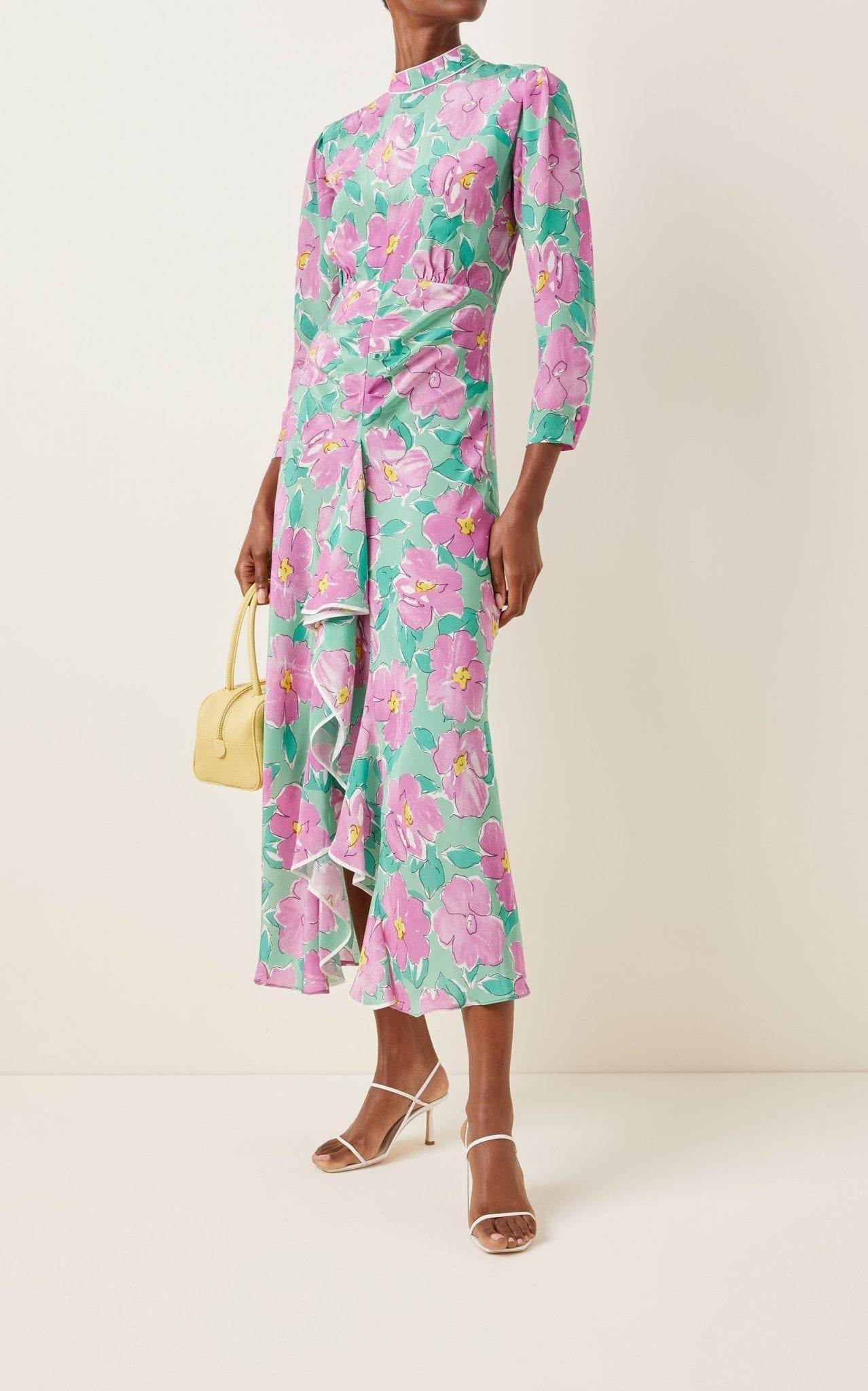 RIXO Cherie Ruffled Floral Silk Maxi Dress