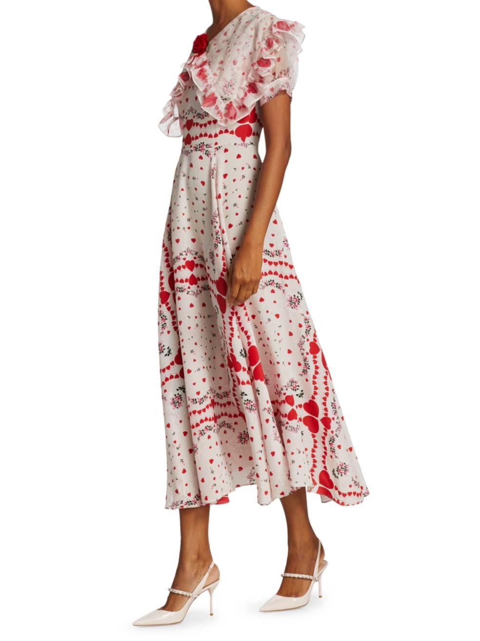 RODARTE Heart Floral Print Ruffle Silk Dress