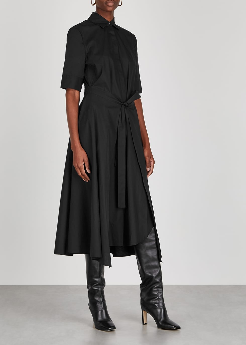 ROSETTA GETTY Black Poplin Shirt Dress