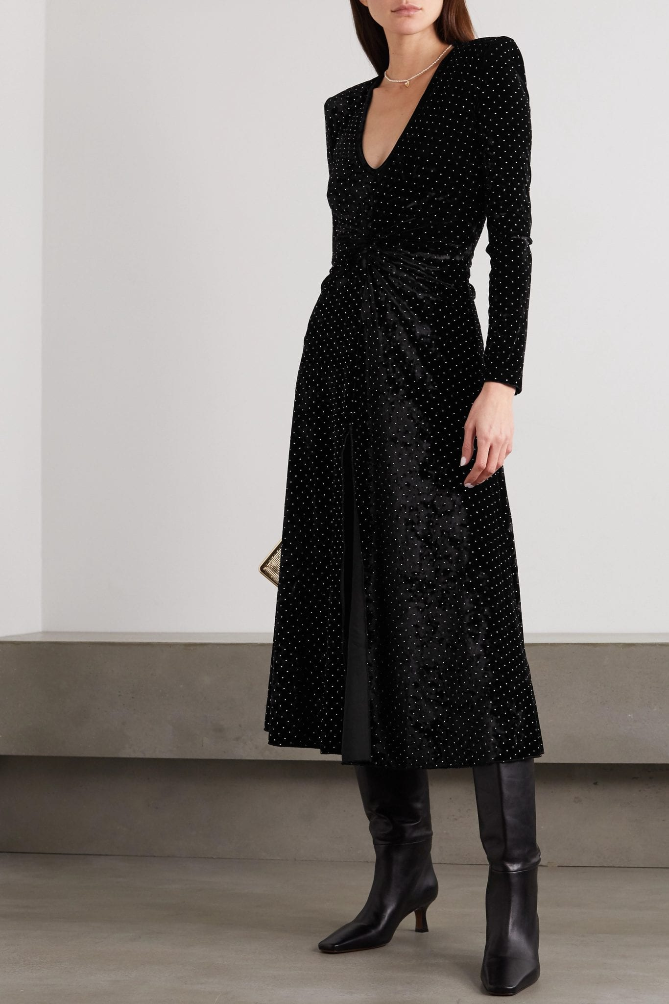 ROTATE BIRGER CHRISTENSEN Lily Gathered Studded Stretch-velvet Midi Dress