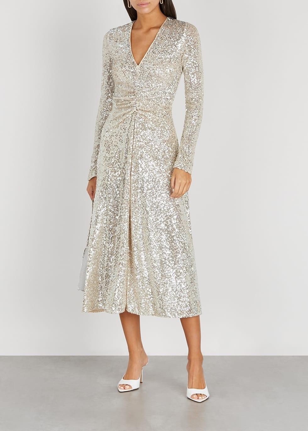 ROTATE BIRGER CHRISTENSEN Sierra Sequinned Stretch-tulle Midi Dress