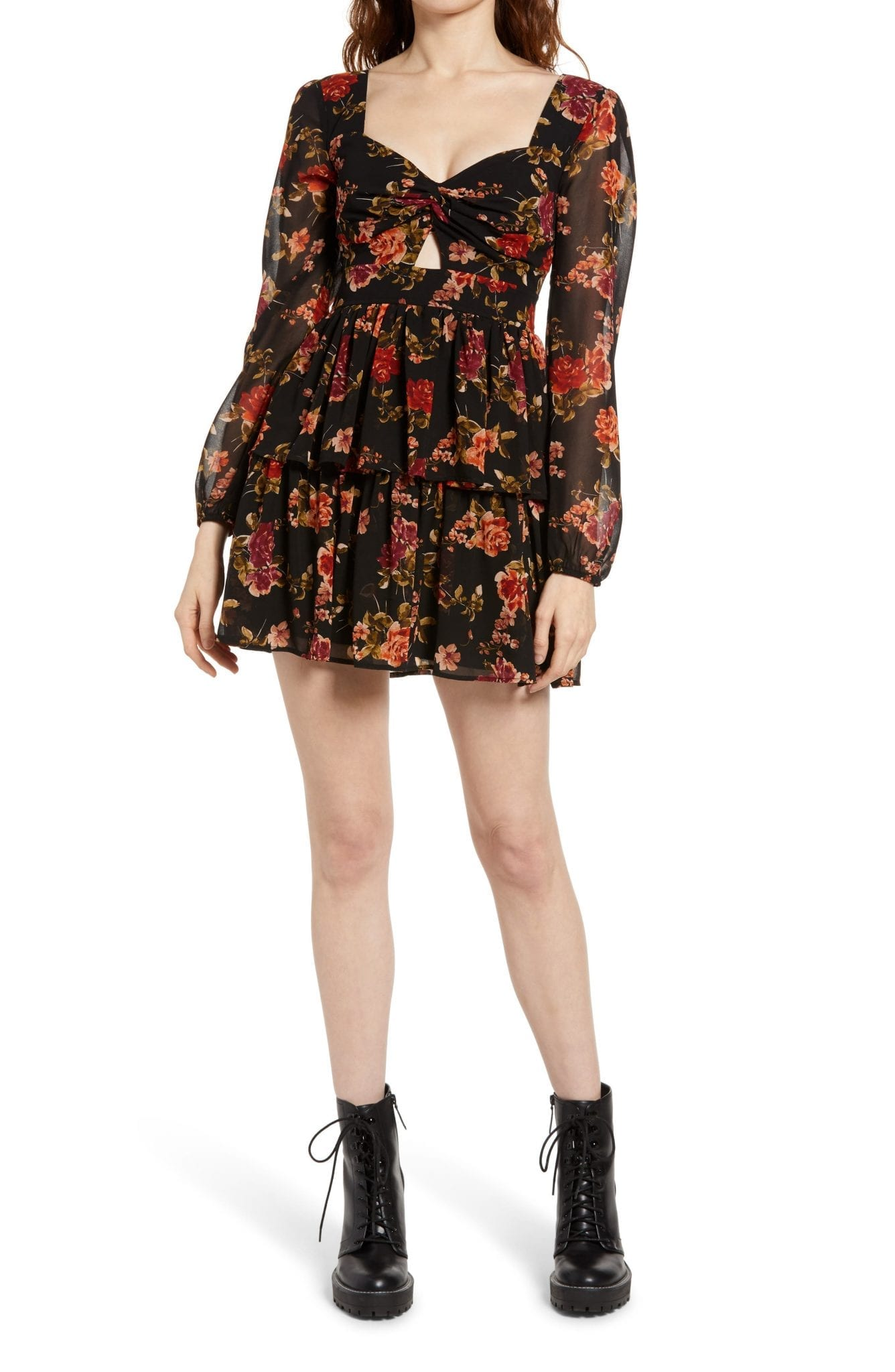 ROW A Keyhole Floral Long Sleeve Mini Dress