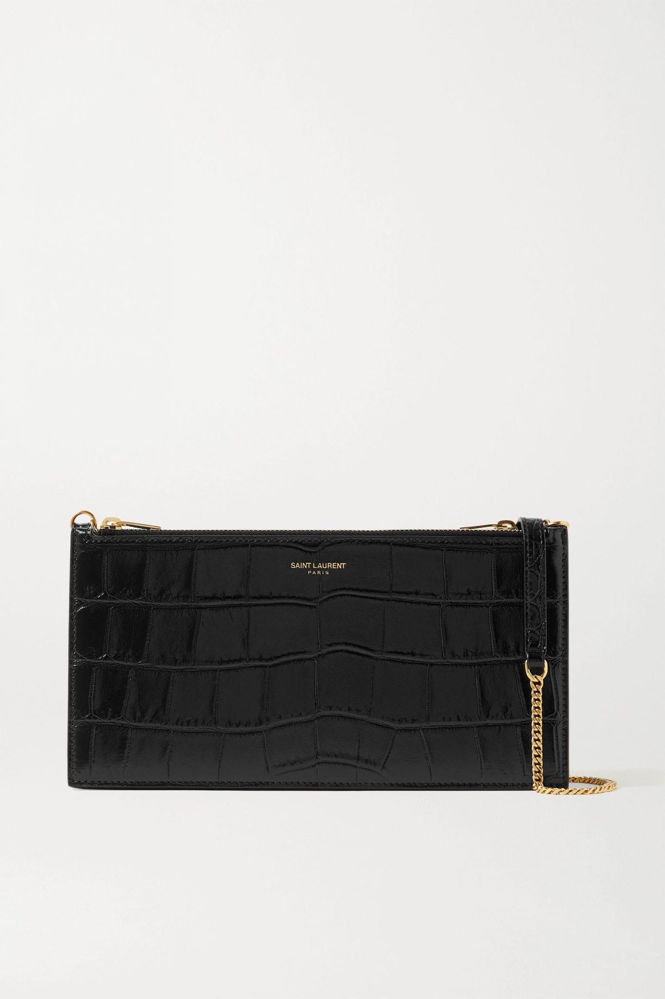 SAINT LAURENT Croc-effect Leather Shoulder Bag