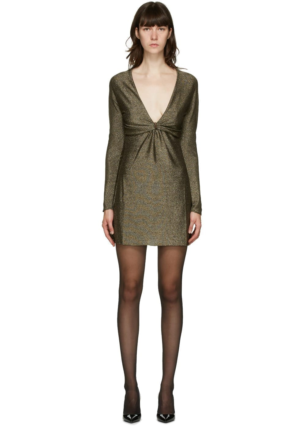 SAINT LAURENT Gold Lurex Short Dress