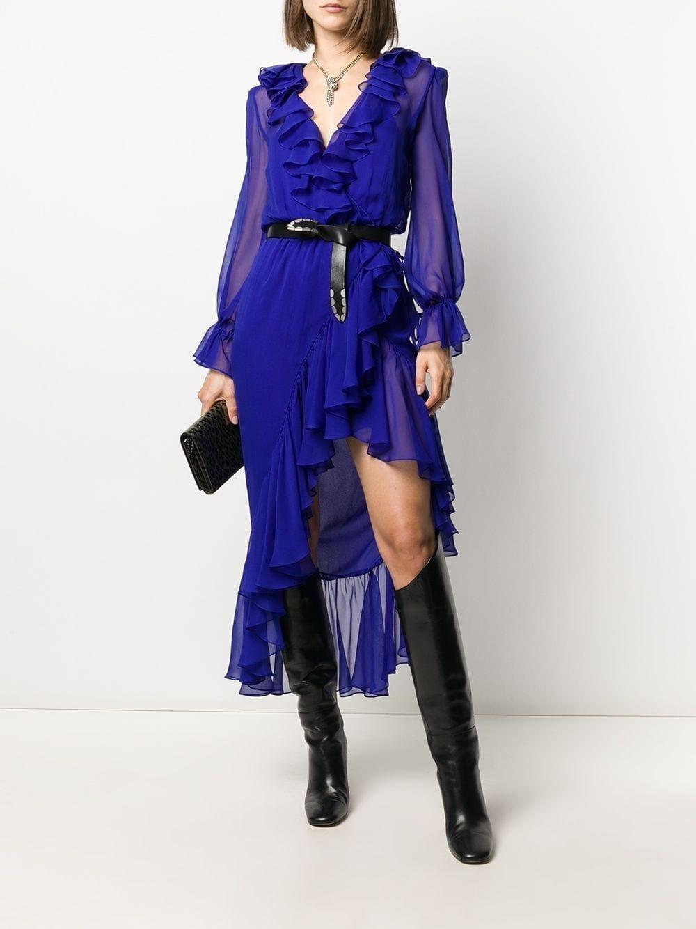 SAINT LAURENT Ruffle-detail Asymmetric Dress