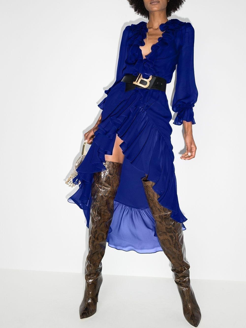 SAINT LAURENT Semi-sheer Silk Ruffle Dress